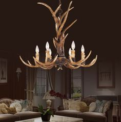 Europe Country 6 Head Candle Antler Chandelier American Retro Resin Deer Horn Lamps Home Decoration Lighting ** You can get additional details at the image link. Deer Antler Chandelier, Driftwood Chandelier, Country Chandelier, Candle Chandelier, Chandelier Lighting, Chandeliers, Antler Art, Deer Horns, Antlers