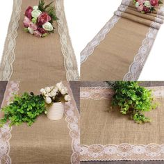 5 Colors Jute Rustic Burlap Lace Table Runner Wedding Party Banquet Decoration Durable, no fade,great breathability. Knitted crafts, texture clear, well-distributed and fine workmanship. Ideal for wed Banquet Decorations, Outdoor Wedding Decorations, Decoration Table, Trendy Wedding, Rustic Wedding, Wedding Ideas, Lace Wedding, Burlap Lace Table Runner, 35th Wedding Anniversary