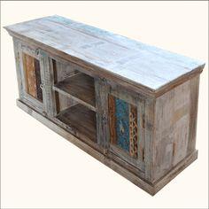1. Appalachian Rustic Old Wood Media Center TV Table
