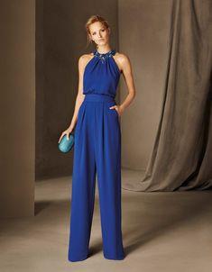 Pronovias > BELGICA - Cocktail jumpsuit, sleeveless, halter neck, in crepe Dresses Uk, Evening Dresses, Party Dresses, Elegante Jumpsuits, Cocktail Jumpsuit, Cocktail Dresses, Blue Jumpsuits, Playsuits, Occasion Dresses