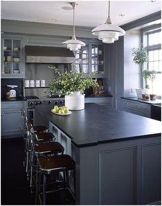 Lighter gray cabinets & dark soapstone counters