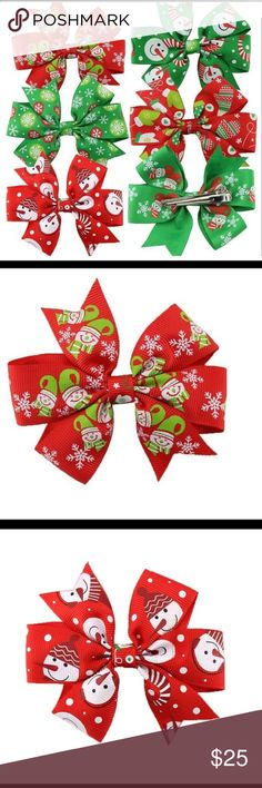 💠6pcs Christmas Hair Clip Bows Color: Colorful Material: cloth Size: 7*8cm(2.7*3.1in) Package Includes: 6 x hair bows Accessories Hair Accessories