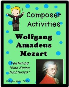 *** $5.00***Overview: This product is a curriculum integration tool incorporating music, history, math and writing for 2-5th. The lesson is built around students learning some facts about Mozart, identifying and singing a musical theme with original fun lyrics and writing creative narratives. Musi...