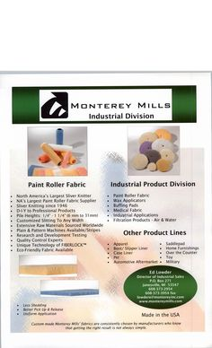 Industrial Fabric Flyer by Monterey Mills Industrial Fabric, Buffing Pads, Fabric Suppliers, Large Painting, Pet Beds, Wax, Laundry