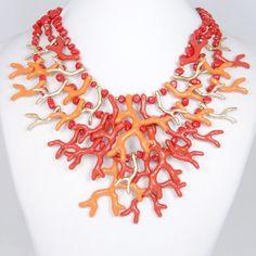 Gold Tone Coral Branch Necklace Bubble Necklace