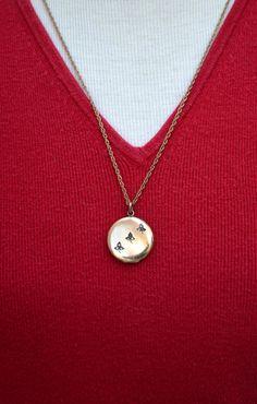 Gold Filled Edwardian Locket Necklace with Paste Stones #Vintage #Jewelry #Fashion #GiftForHer #CostumeJewelry #EdwardianLocketNecklace #GoldFilledLocketNecklace #GoldFilledRhinestoneLocket