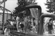 """I shot this in 1997 on a hot July day for my Photography 101 summer class. This fountain was a fixture in Iowa City. It was affectionately known as """"Three Ladies Peeing,"""" but its real name was something more boring like """"Sculpture #5."""" They tore down"""