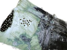 Vintage distressed studded and bleached shorts black and white music note fabric sewn in by BreezyReign, $50.00
