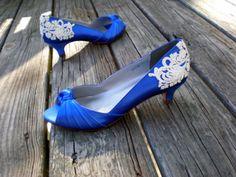 blue wedding shoes low heel