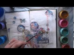 Stamping tissue paper technique using new Finnabair stamps ART JOURNALING - YouTube