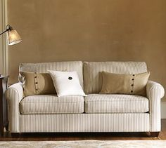 "Buchanan Apartment Sofa #potterybarn- $1,199.00- In the chenille fabric ""light wheat"" color."