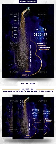 Jazz Nightclub Flyer - #Clubs & #Parties #Events