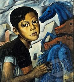 """Boy with Horses"" 1941 by Roberto Montenegro (Mexican, 1887-1968)"