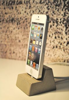 Concrete iPhone 5 Docking Station by fmcdesign on Etsy, $30.00