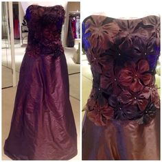 Brown, silk taffeta gown with floral detail.