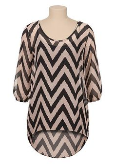 High-low chevron print chiffon tunic (original price, $29) available at #Maurices