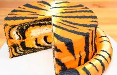 TigerCakeWithPieceCutOut | How to Make a Tiger Cake