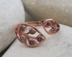 Pretty and unique and you can put a specific birthstone in it!!.. Amethyst Leaf Ring- His Her Birthstone Ring- Customizable Ring- Adjustable Ring- Mothers Ring- Rose Gold Ring