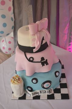 Amazing cake at a Soda Shoppe birthday party! See more party ideas at CatchMyParty.com!