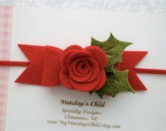 Christmas Baby Headband Baby Christmas Headband by MyMondaysChild Toddler Headbands, Newborn Headbands, Felt Headband, Poinsettia Flower, Felt Bows, Red Felt, Christmas Baby, Baby Bows, Felt Flowers