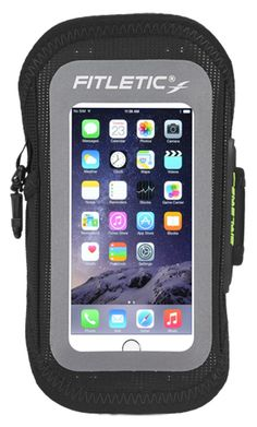 Fitletic Surge Sports Armband - fits Galaxy Smartphones and iPhone 6, Black Small. Surge features a lighter and more breathable armband for a very comfortable use and water resistant paneling that keeps your valuables dry when you get hot (not submergible). This sports armband allows you to focus on your workout/activity and know your valuables are dry and safe. Mobile phone case fits iPhone 6 right on your arm with dual top and bottom ear bud ports that let you access your calls or…