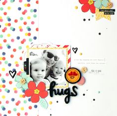 Hugs   Charms Creations Design Team Layout   Amy Tangerine Better Together patterned papers   Charms Creations and D-lish Scraps embellishments
