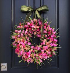 Pink Tulips, Front Door Tulip Wreath, Tulip Wreath for Door, Door Wreath Tulips, Pink Tulips Door Wreaths