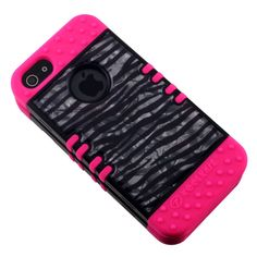 Crystal Blk Silver Zebra Pink KoolKase Rocker Hybrid Case Cover For iPhone 5s 5 #RockerKoolKaseCellArmor