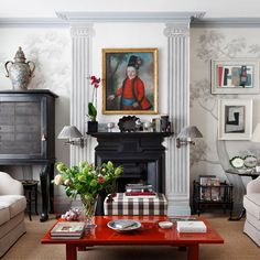 """[i]After 40 years at Sibyl Colefax & John Fowler, Wendy Nicholls is clear about what makes a good interior, and the decoration of her London flat reflects the style she has honed both personally and professionally.[/i]  The eighteenth-century painting above the Victorian chimneypiece provides a focal point in the [link url=""""http://www.houseandgarden.co.uk/interiors/living-room""""]drawing room[/link], with its grisaille walls painted by Jessica Fletcher at Sibyl Colefax & John Fowler."""