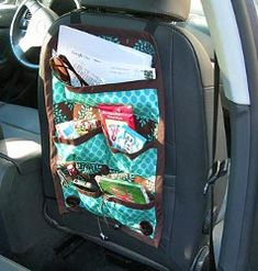 18 Craft Organizers; Free Patterns  -  Shown: Cool Car Caddy Straps onto Head Rest  -  http://www.allfreesewing.com/Miscellaneous-Projects/18-Craft-Organizers-Sewing-Organizer-Patterns-for-the-New-Year/ct/1#