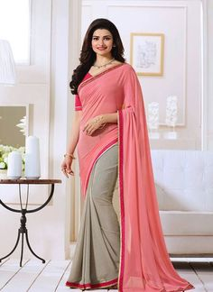 buy saree online Prachi Desai Pink Georgette Printed Saree Buy Saree online - Buy Sarees online