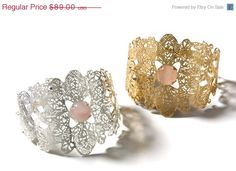 On Sale 30 Rose Quartz stone and metal lace wide by inbarshahak, $62.30
