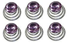 Set of 6 Hair Twists with Solitaire Crystal 5/8' in diameter BU863175-solht-6lilac -- You can find more details by visiting the image link.