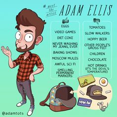 Memes, 🤖, and jeans: tots meet the eggs tomatoes video games Adam Ellis, What Was I Thinking, Healthy Snacks For Diabetics, Character Sheet, Character Development, Art Challenge, Meet The Artist, Comic Artist, Science And Nature