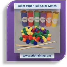 Toilet Paper Roll Color Match.  Great idea for building up small muscle.