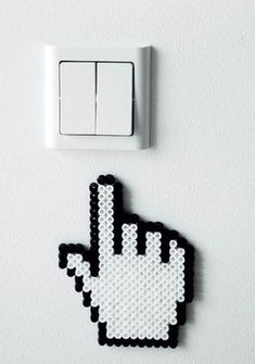 Sweet and funny detail for home's electrical outlets - diy with hama beads Perler Bead Designs, Perler Bead Templates, Hama Beads Design, Diy Perler Beads, Perler Bead Art, Bead Embroidery Patterns, Pearler Bead Patterns, Perler Patterns, Beading Patterns