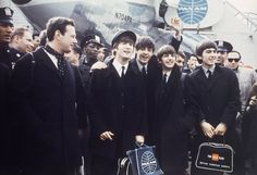 A Boeing 707, Pan Am flight 101 arrives at JFK Airport NYC at 1:20PM from London - February 7th, 1964. On the flight were The Beatles, Manager Brian Epstein (pictured on left), roadies/bodyguards/friends Neil Aspinall and Mal Evans (not pictured), plus many journalists and photographers. The British Invasion begins. #TheBeatles #1964 #JFK #BritishInvasion #1960s #BrianEpstein #MerseyBeat #RockandRoll #PanAm