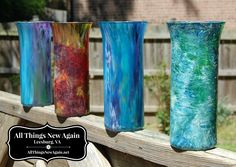Transform $1 vases with Unicorn Spit non-toxic rainbow stain. See the full tutorial at www.AllThingsNewAgain.net