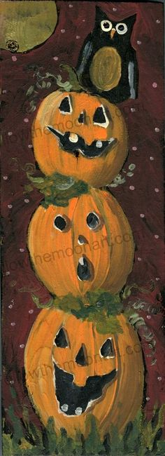Full Moon Halloween Nite Owl, 3 Jolly Jack O Lanterns  Quality Art Print #unframed