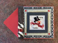 Cross Stitch Christmas Card with Snowman made by Karen Miniaci