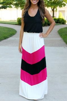 Stylish Scoop Collar Sleeveless Zig Zag Women's Maxi DressMaxi Dresses   RoseGal.com