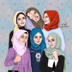 Best Friend Drawings, Girly Drawings, Cute Love Cartoons, Cute Cartoon Girl, Cute Girl Drawing, Cartoon Girl Drawing, Anime Best Friends, Hijab Drawing, Islamic Cartoon