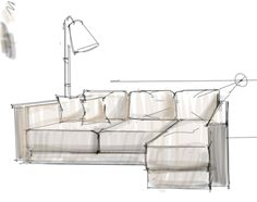 Interior Design Rendering: Working on a sofa design with a lamp