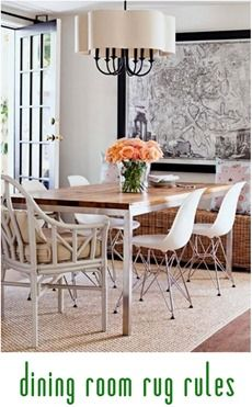 dining room rug rules (proper size) Love this dining room - modern & traditional elements