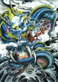 Dragon Tattoo Colour, Dragon Tattoo Art, Dragon Sleeve Tattoos, Dragon Artwork, Dragon Tattoo Designs, Japanese Snake Tattoo, Japanese Dragon, Japanese Art, Monami Frost