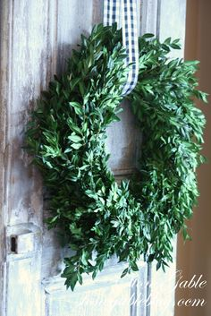 Beautiful wreath and ribbon.