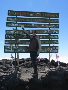 Steve showing he achieved his goal of reaching Kili's summit!