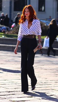 Taylor Tomasi Hill looks ladylike in Equipment polka dots.