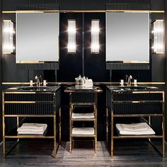 Black and Gold Bathroom Decor Beautiful Academy Luxury Black & Gold Furniture are A Big Design Trend for Bathrooms Luxurybathroom Gold Interior, Luxury Interior, Home Interior Design, Interior Decorating, Decorating Ideas, Decor Ideas, Gold Furniture, Bathroom Furniture, Bathroom Interior