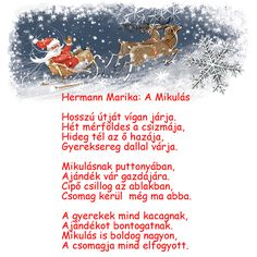 Hermann Marika verse a mikulásról. Christmas Diy, Christmas Decorations, Winter Is Coming, Advent, Verses, Crafts For Kids, Kindergarten, Education, Santa Clause